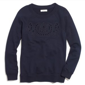 Madewell Navy Embroidered Cutout Sweatshirt Sz Sm